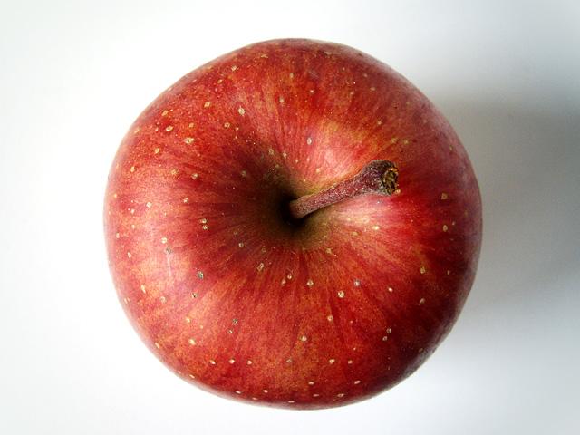 上から見た林檎のフリー写真素材