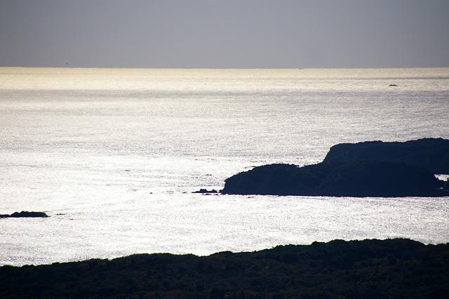 白く輝く海