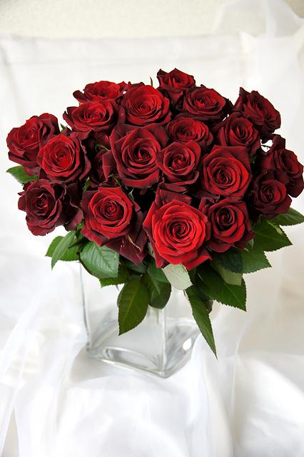 赤色のバラの花束