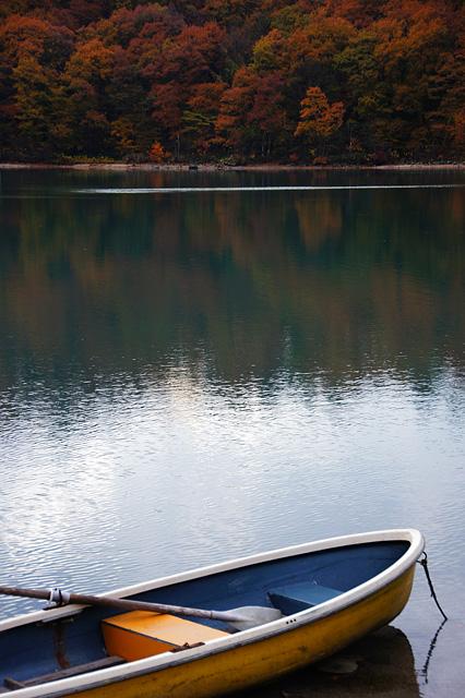 紅葉と手漕ぎボート