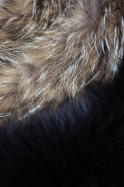 黒と茶色のファー