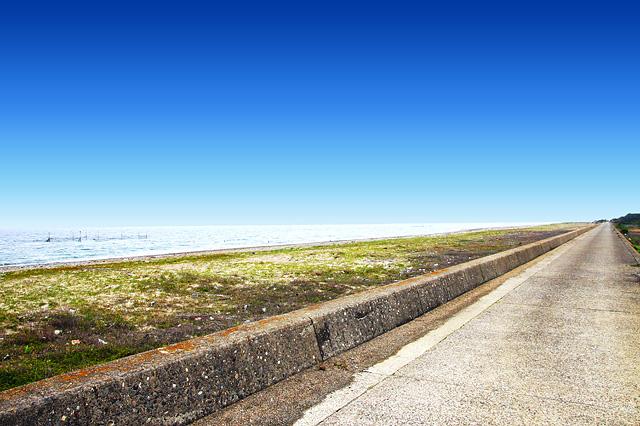 海岸沿いのまっすぐな道