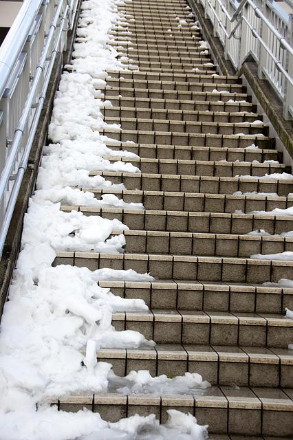 雪の積もった階段の無料写真素材