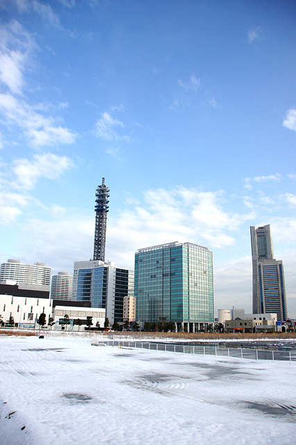 横浜みなとみらいの冬景色