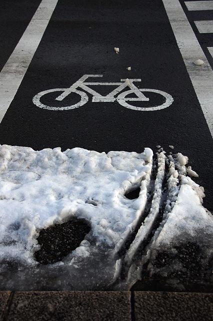 雪と横断歩道の写真素材 無料