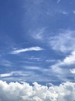 明るい昼の青空の無料写真素材