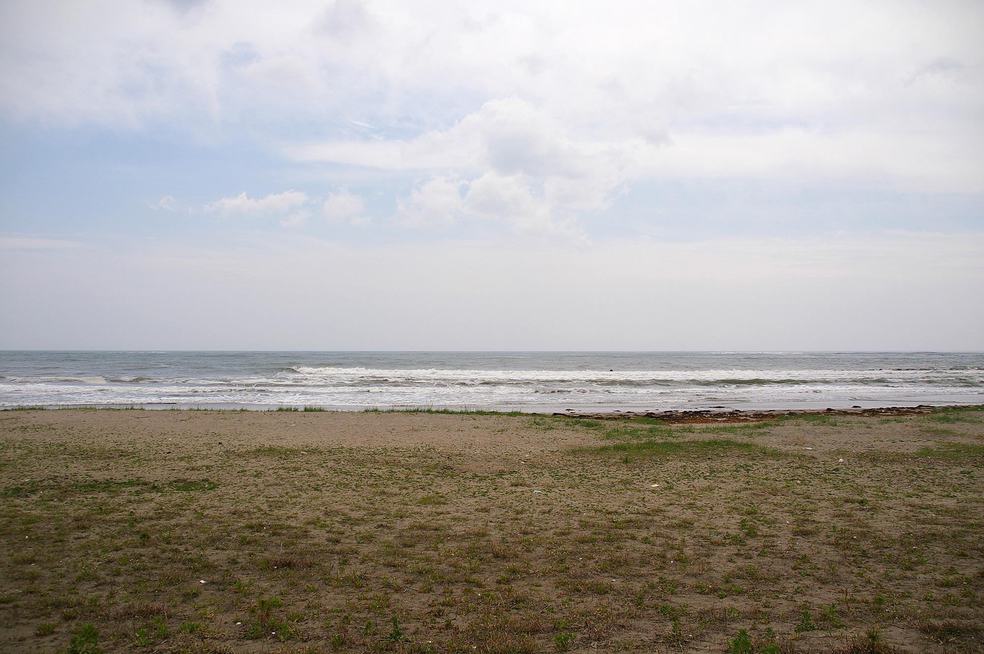 寂しげな海
