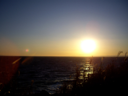 水平線上に輝く夕日の無料写真素材