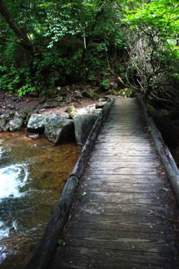 清流にかかる橋のフリー写真素材