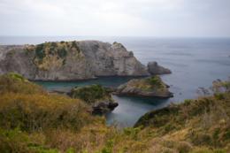 伊豆の断崖の上からの眺めの写真素材