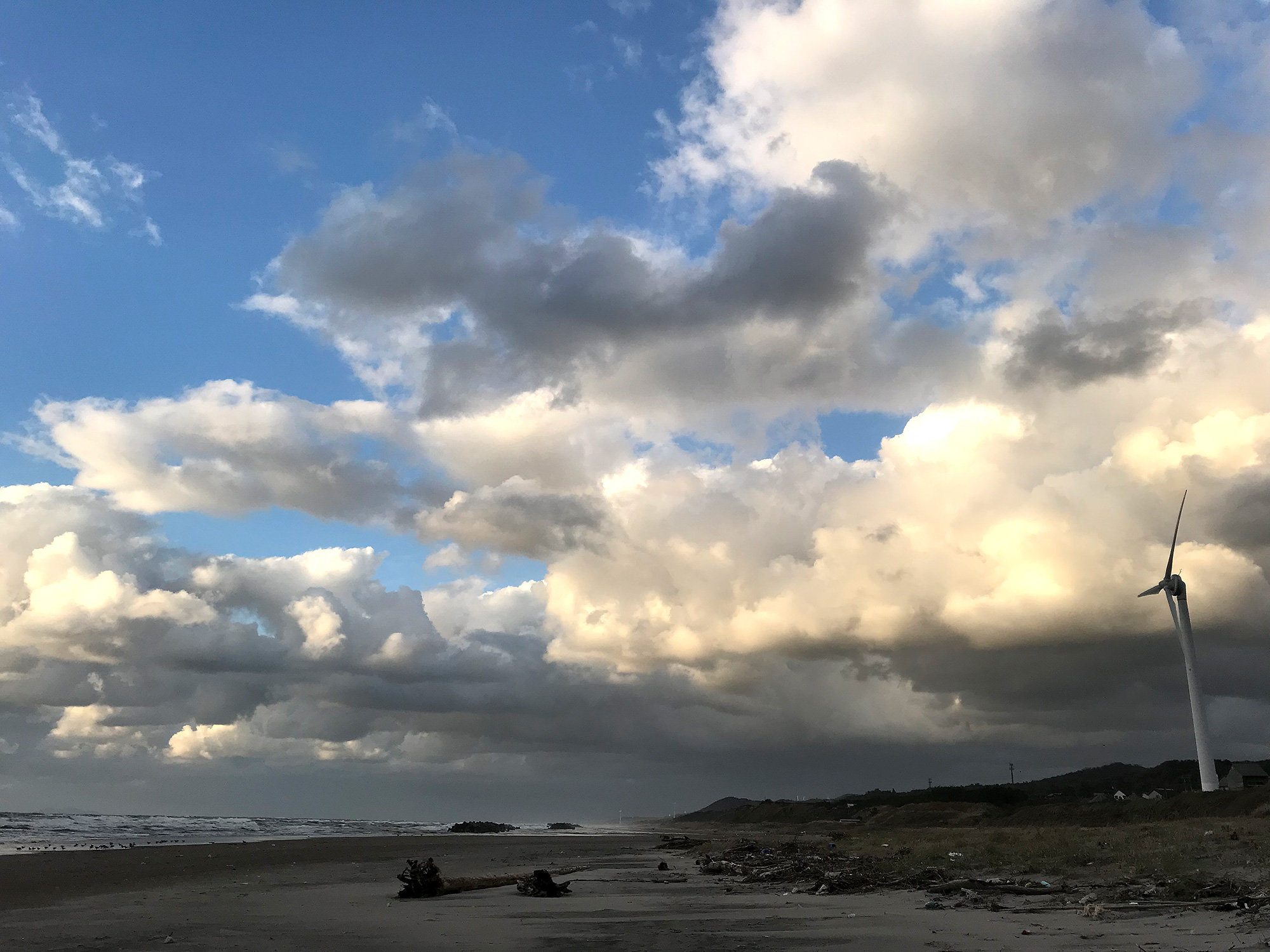 海岸と風車の無料写真素材