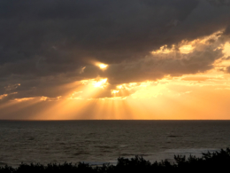 夕焼けと水平線の無料写真素材