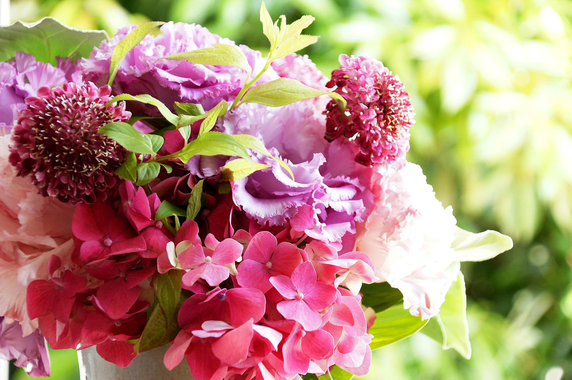 紫陽花やトルコキキョウなどのブーケのフリー写真素材